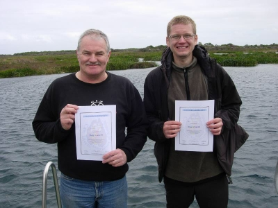 Graeme and me at Piccaninnie Ponds with our certificates